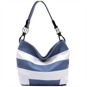 Blue & Grey Striped Classic Bucket Bag
